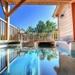Une cabane avec spa sur la terrasse