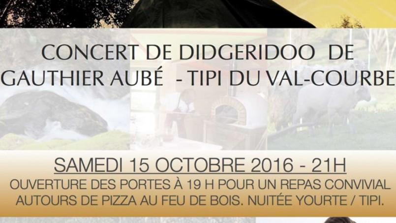 Concert de Didgeridoo le 15/10 au Tipi du Val Courbe en Bourgogne